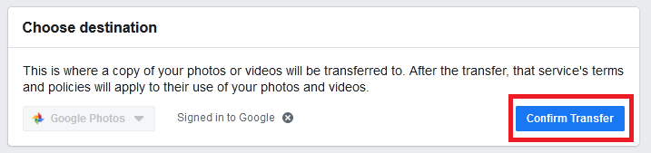 Fb new tool ltransfer pictures to Google Photos