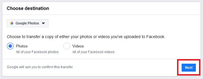 transfer facebook videos to google photos