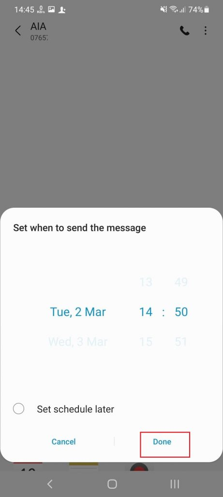 Schedule a Text Message on Android for later