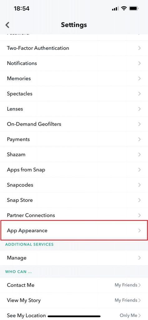 Snapchat Settings- App Appearance